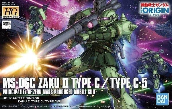 Bandai Gundam the Origin 016 MS-06C Zaku Ii Model Kit - Type C/C-5, 1/144 Scale