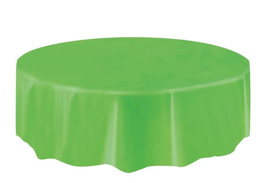 "Unique Round Plastic Table Cover - 84"", Lime Green"