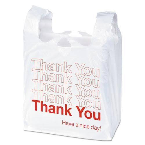 "Universal Office Products Plastic Thank You Shopping Bag - 11.5"" X 3.15"" x 22"", White/Red"