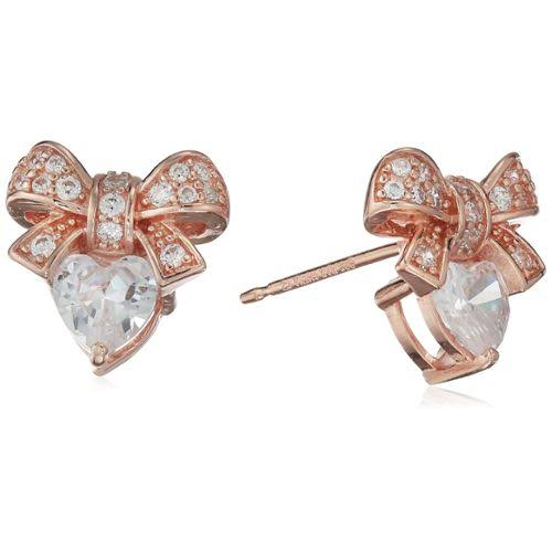 Jewel Panda Women's Heart Shaped White Sapphire Bow Stud Earrings
