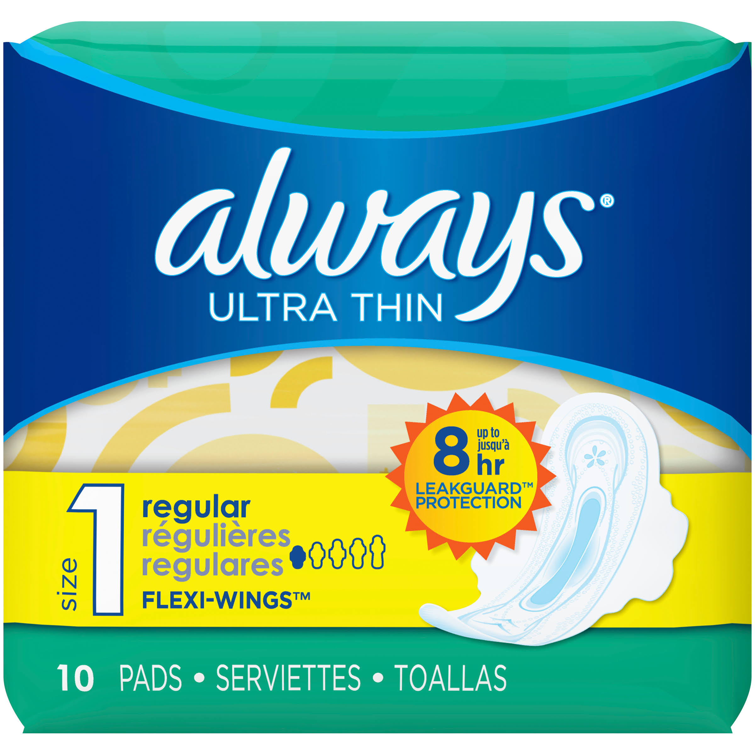 Always Ultra Thin Size 1 - Sanitary pad - disposable - orange (pack of 10)