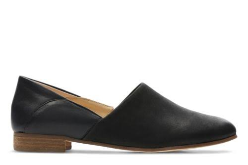 Clarks Women's Pure Tone Closed Toe Leather Slip On - Black, USW7
