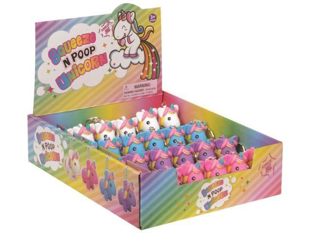 "Playmaker Toys Squeeze N' Poop Glitter Unicorn Display 3"" Keychain, 24 Pack"