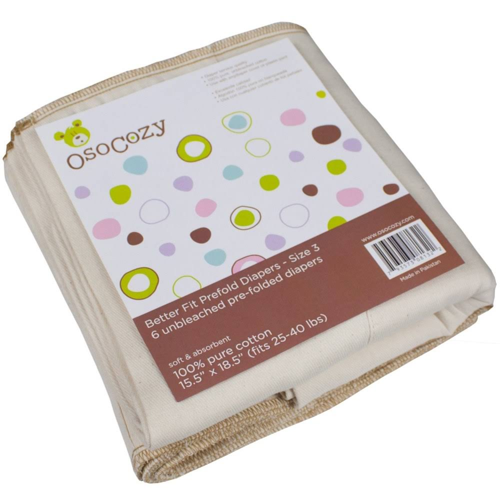 Osocozy Better Fit Prefold Cloth Diapers - Large