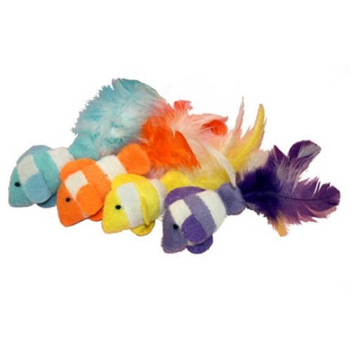 "Multipet Clown Fish Catnip Toy - Assorted Colors, 4.5"", 2pk"