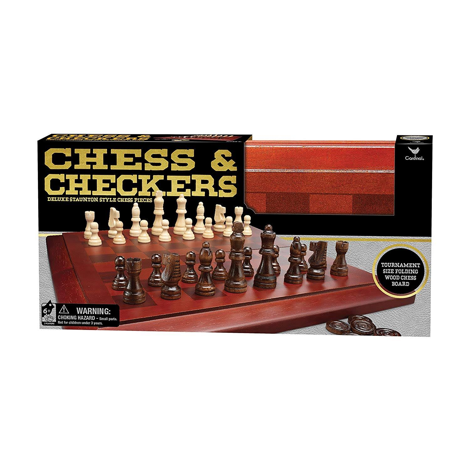 Deluxe Staunton Wood Tournament Size Chess and Checkers Board Game