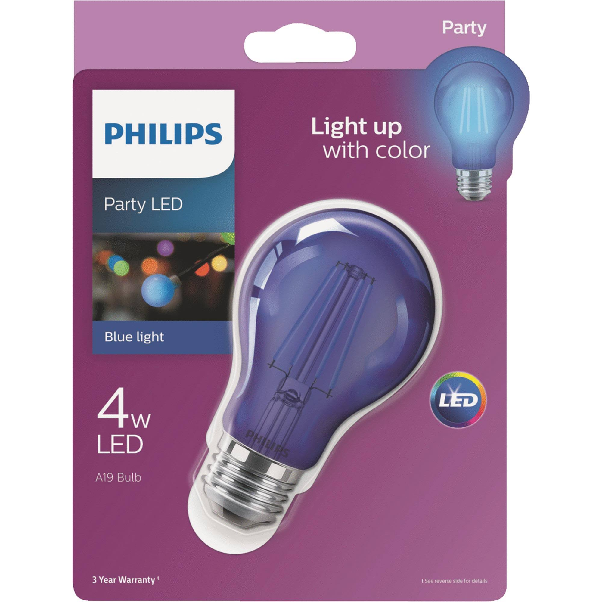 Philips A19 Medium Indoor/Outdoor LED Decorative Party Light Bulb 538231