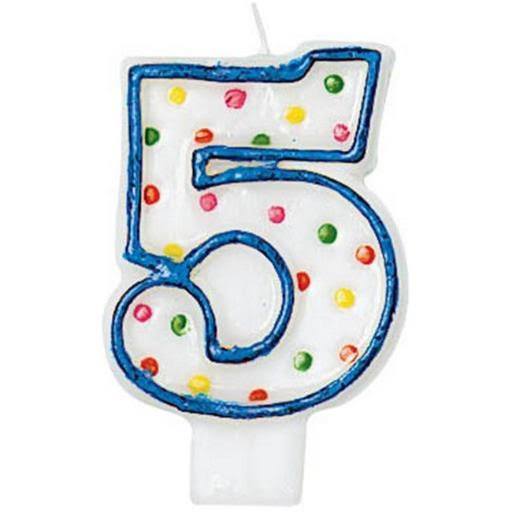 Amscan Polka Dots Number 5 Molded Candle