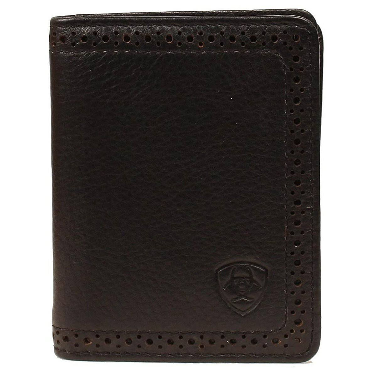 Ariat A3512801 Shield Perforated Edge Bi-Fold Wallet Black - One Size