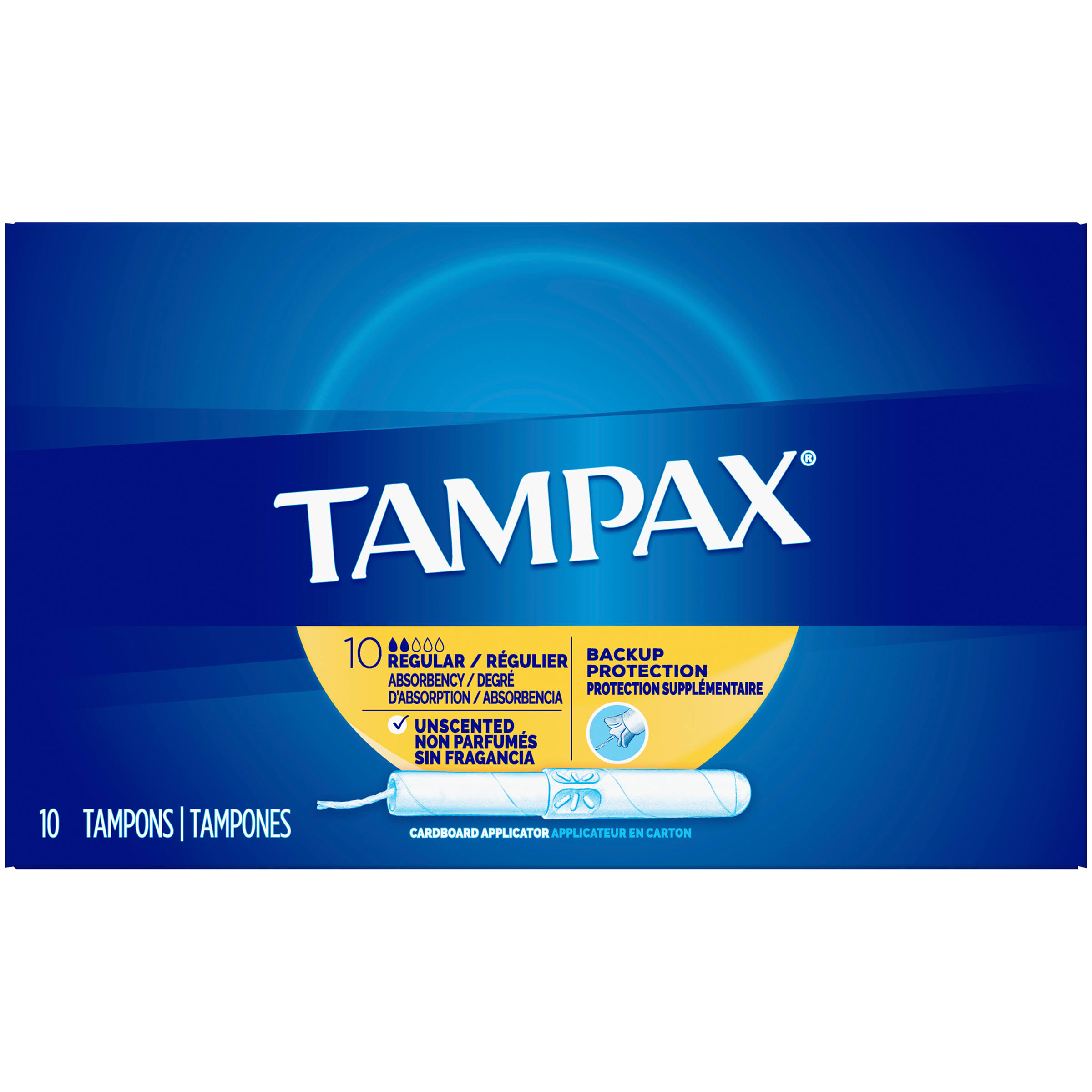 Tampax Tampons - with Flushable Applicator, Regular Absorbancy, 10 Count