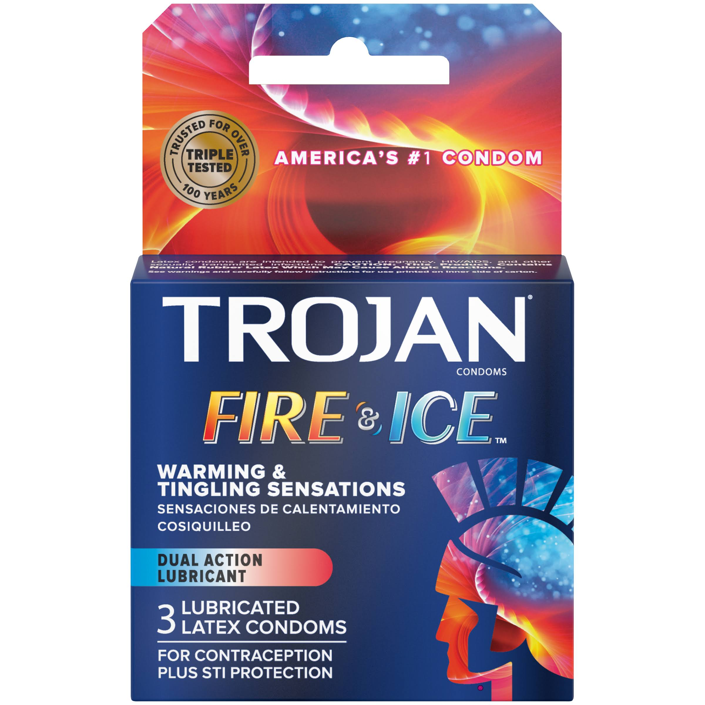 Trojan Pleasures Fire and Ice Dual Action Lubricated Condoms, 3 Count