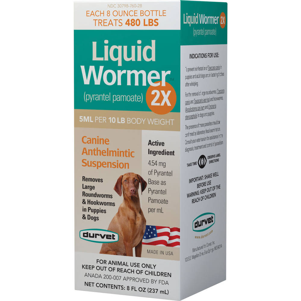 Durvet Woodstream 2x Liquid Wormer For Dogs - 8oz