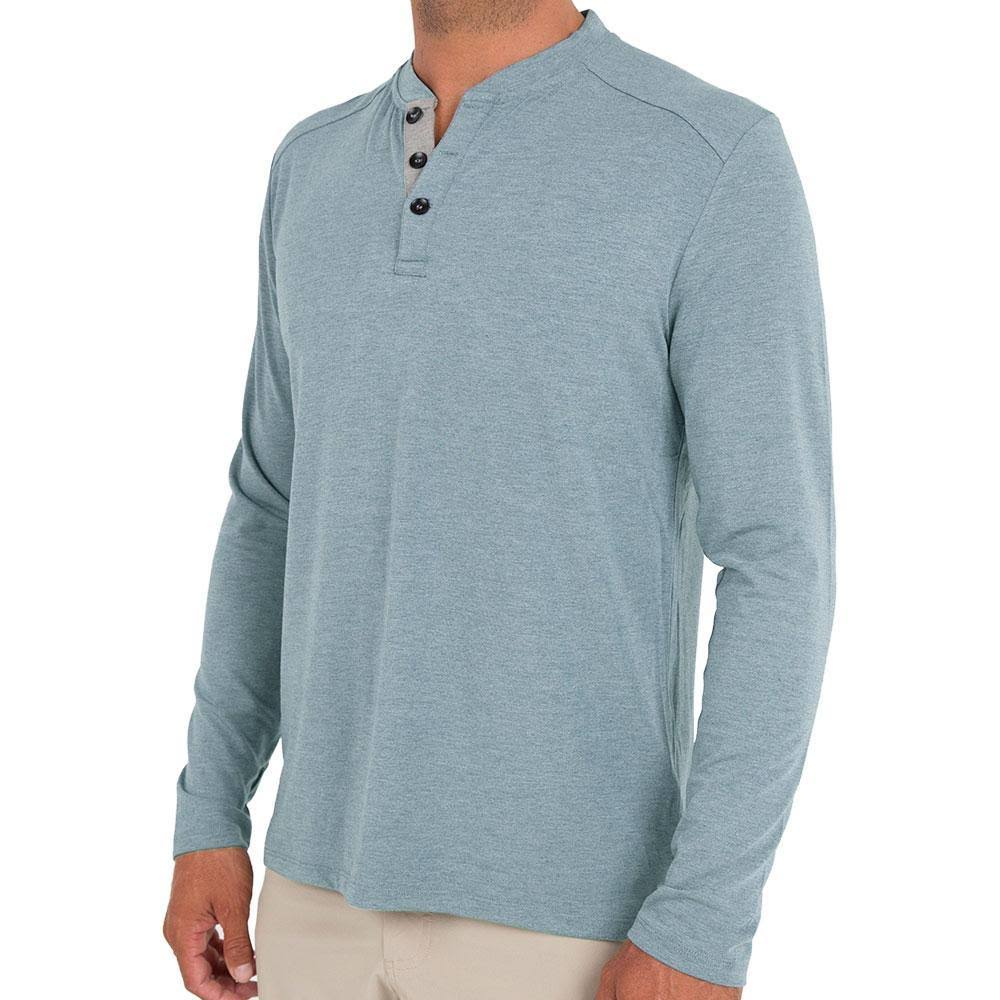 Free Fly Men's Bamboo Flex Henley, XL / Heather Marine , Massey's Outfitters