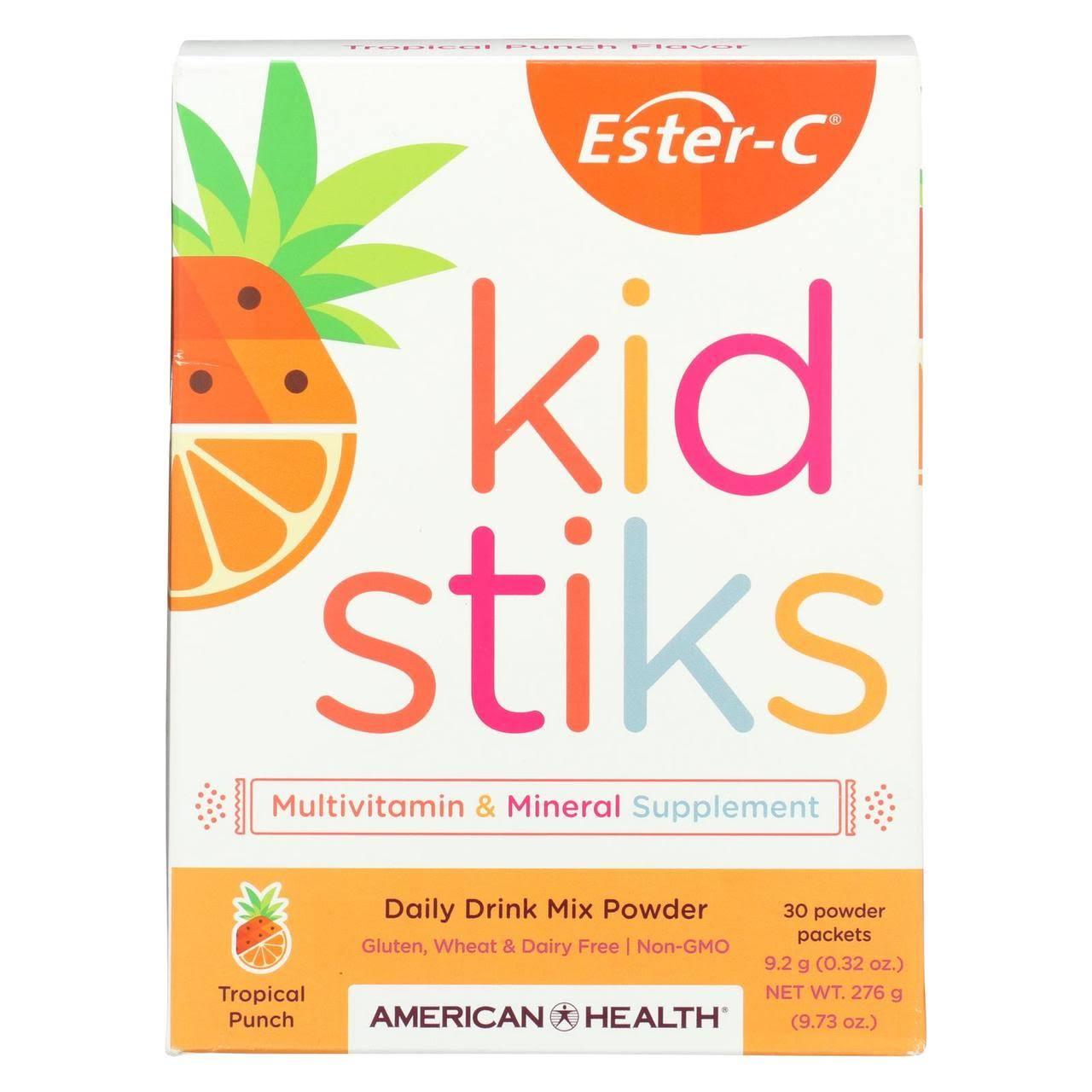 American Health Ester-C Kid Stiks Drink Mix Powder - Tropical Punch, 30 Packets