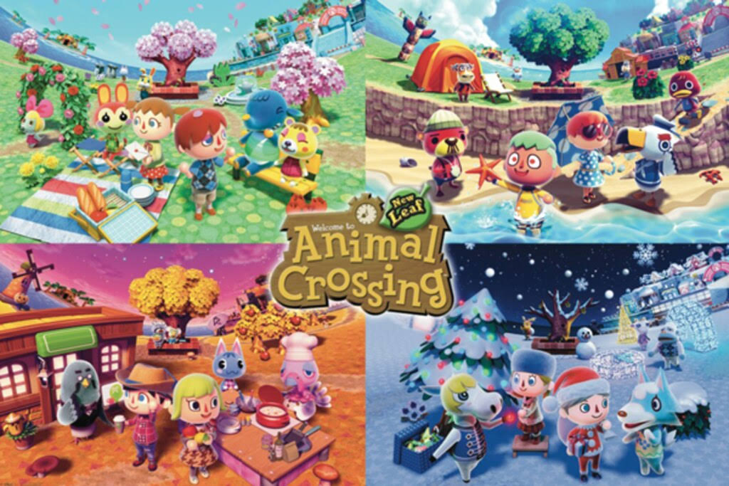 Animal Crossing Four Seasons Video Gaming Poster 36x24 inch