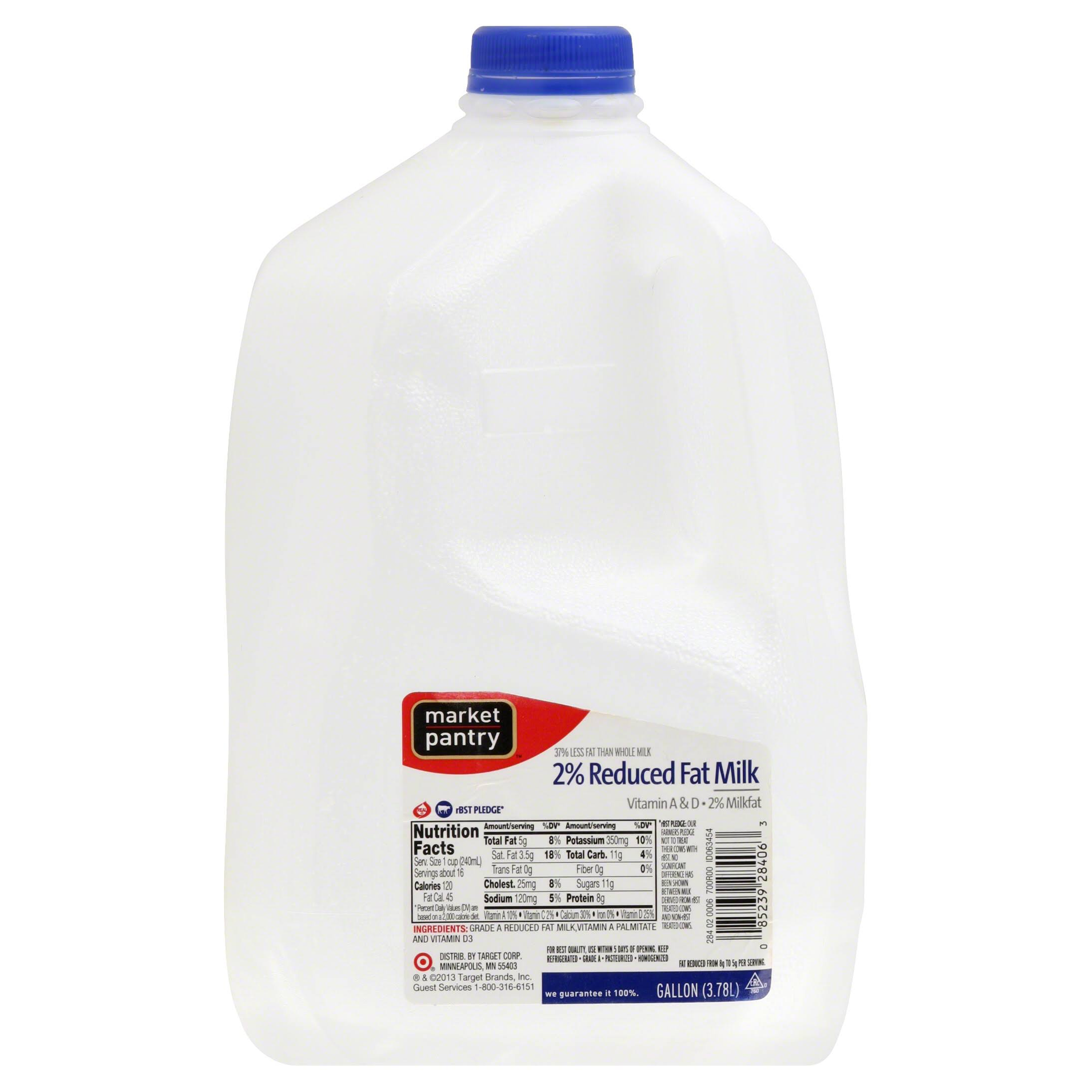 Market Pantry Milk, Reduced Fat, 2% Milkfat - 1 gl (3.78 lt)