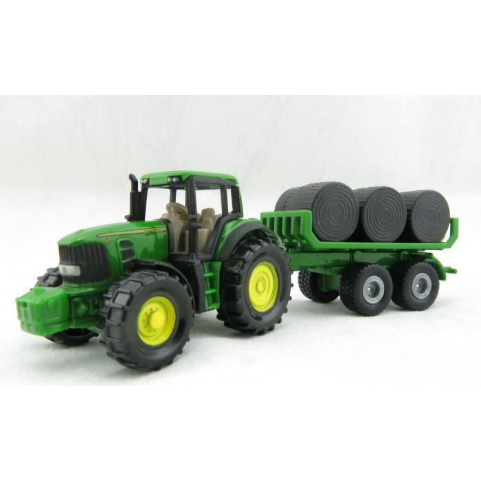 John Deere 7530 Tractor with Hay Trailer and Bales (SIKU 1632)