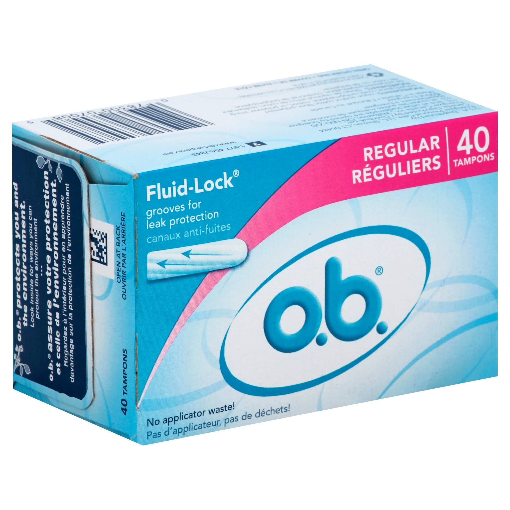 OB Tampons Applicator Free Fluid Lock - 40ct