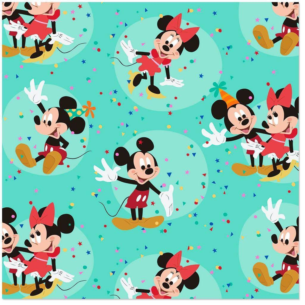 Disney Mickey and Minnie on Aqua Wrapping Paper Roll, 25 Sq. ft.