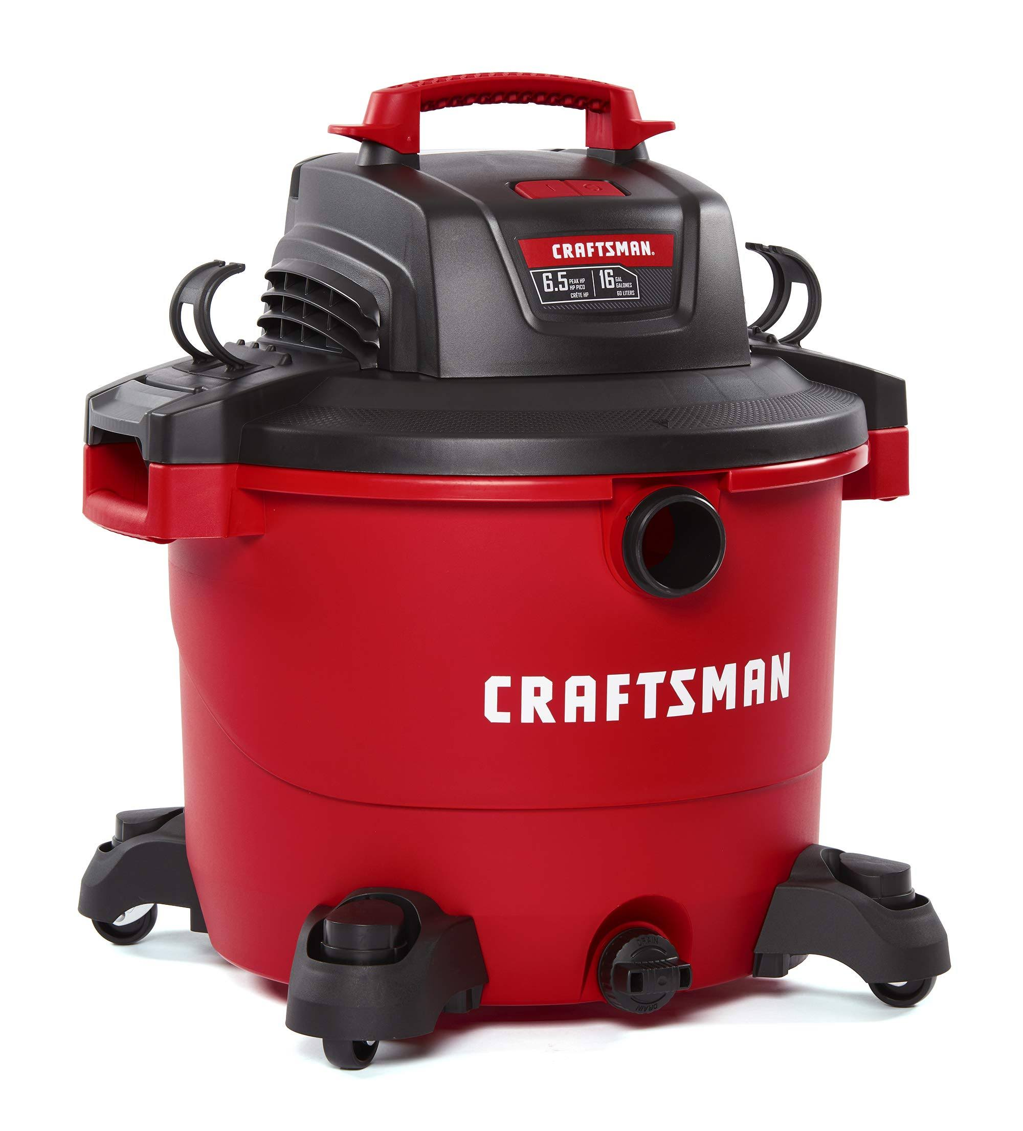 Craftsman 17595 Corded Wet and Dry Vacuum - Red, 6.5 Hp, 12 Amps, 120V, 16gal
