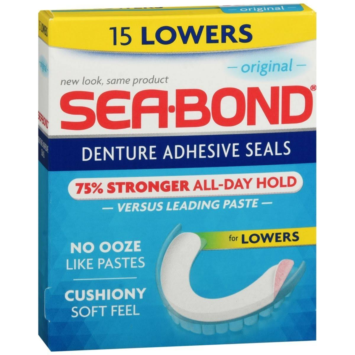 Sea-Bond Denture Adhesive Wafers - 15 Count, Lower