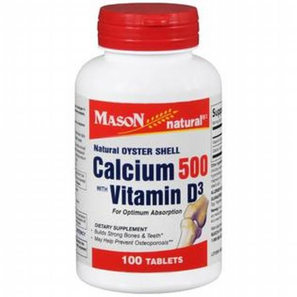 Mason Natural Oyster Shell Calcium Tablets with Vitamin D3 Supplement - 500mg, 100ct