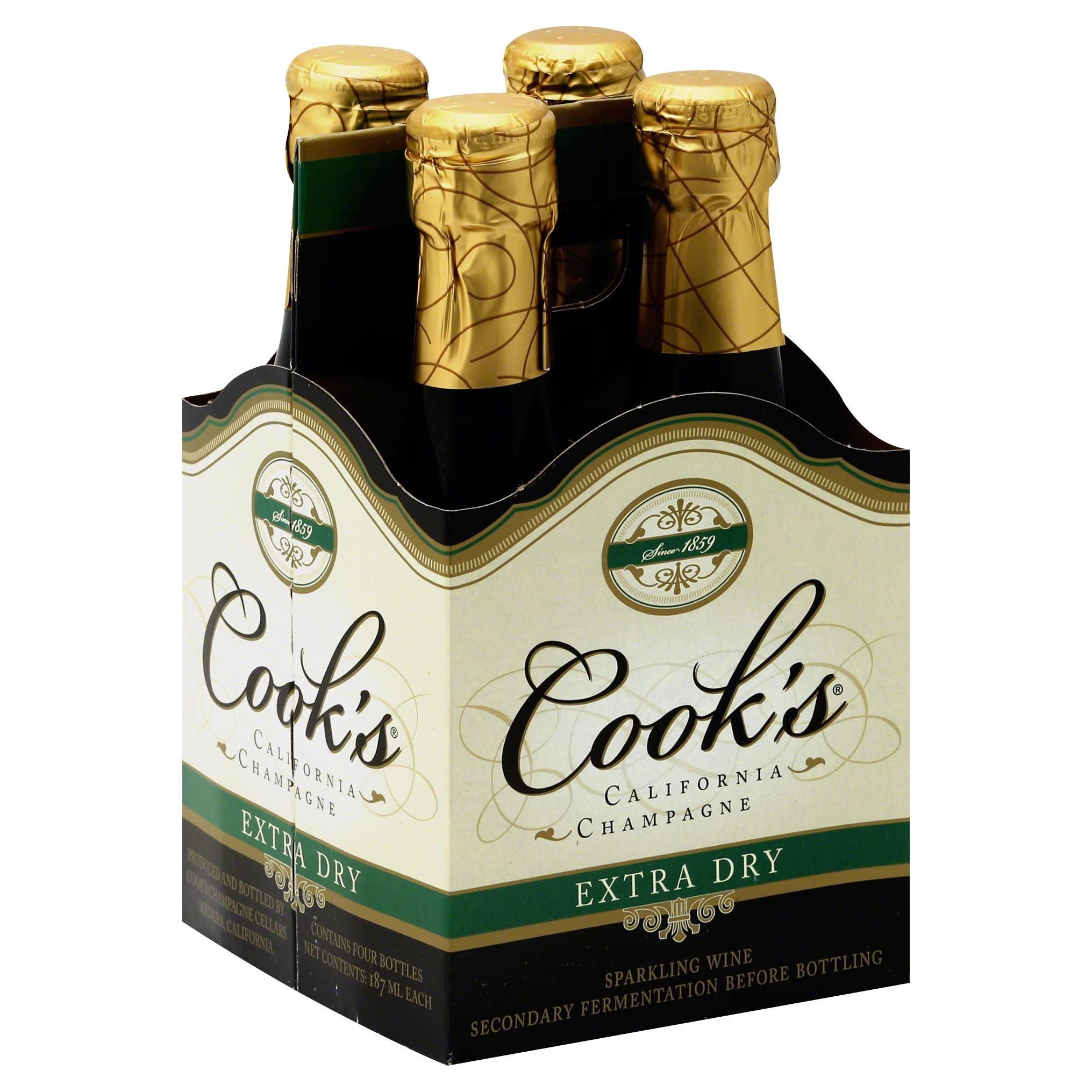 Cook's California Champagne - Extra Dry, 4 ct