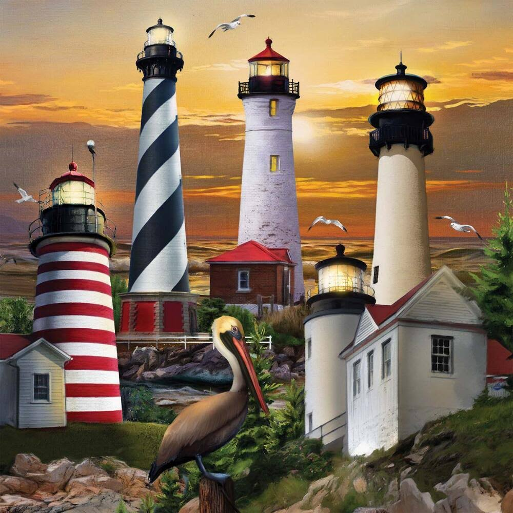 The Jigsaw Puzzle Factory Lighthouses Jigsaw Puzzle | 48 x 48cm