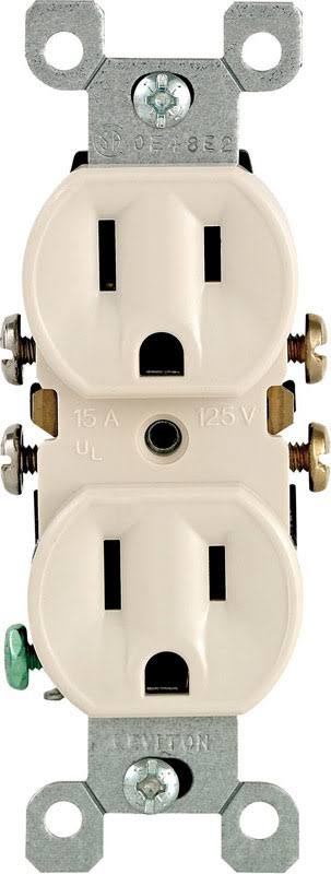 Leviton Duplex Receptacle - Light Almond, 15amp