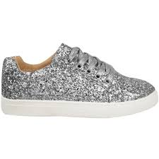 womens ladies flat lace up glitter sparkly trainers sneakers pumps