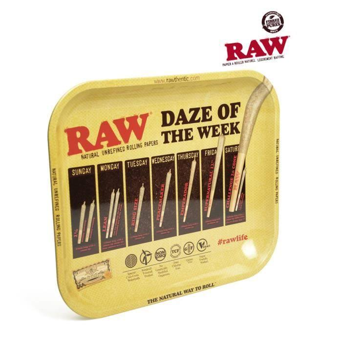 Raw Daze Of The Week Rolling Tray - Metal, 34cm x 27.5cm