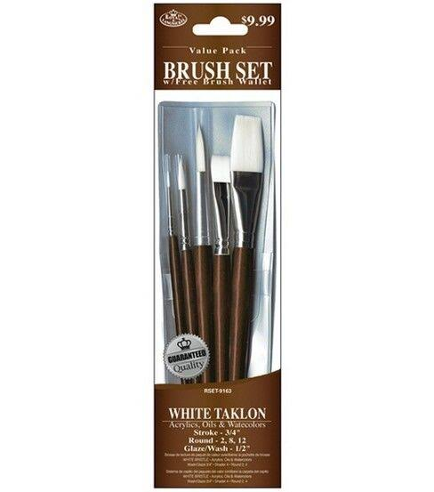 Royal Brush White Taklon Value Pack Brush Set 5/Pkg