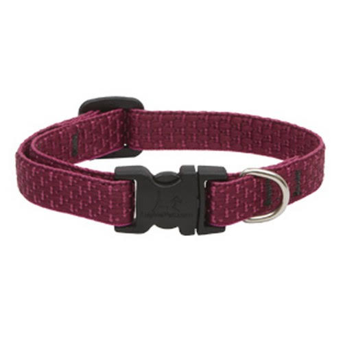 "Lupine Eco Adjustable Dog Collar - for Small Dogs, Berry Pattern, 1/2"" X 8-12"""
