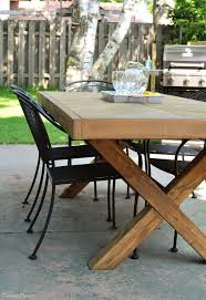 outdoor table with x leg and herringbone top free plans
