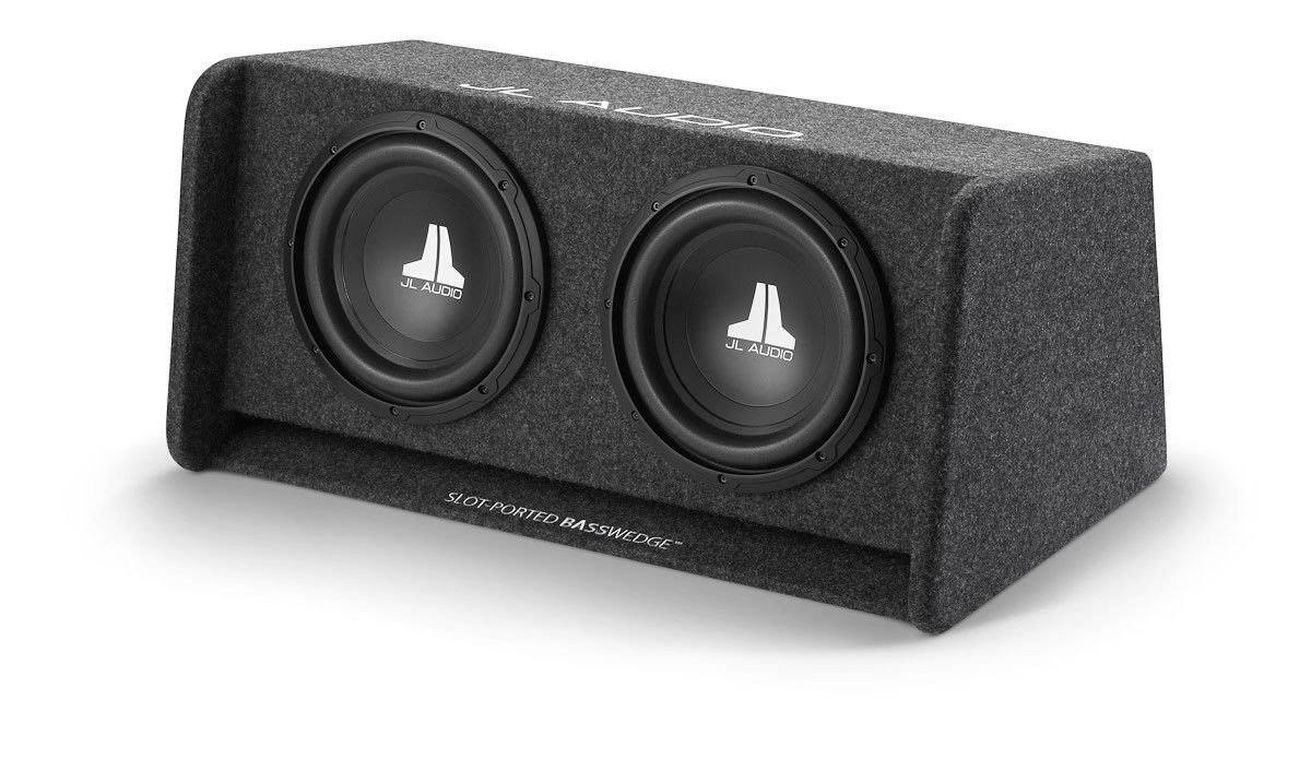 JL Audio CP210-W0v3 Dual 10W0v3-4 Loaded Ported Enclosure Subwoofer - with Gray Carpet Finish, 10""