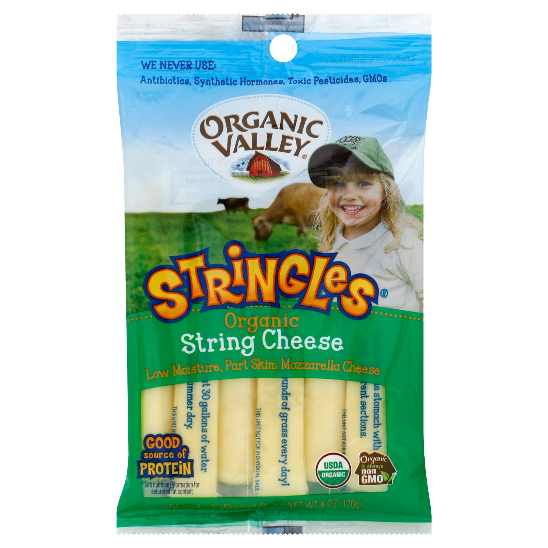 Organic Valley Organic String Cheese - Mozzarella, 6 Count
