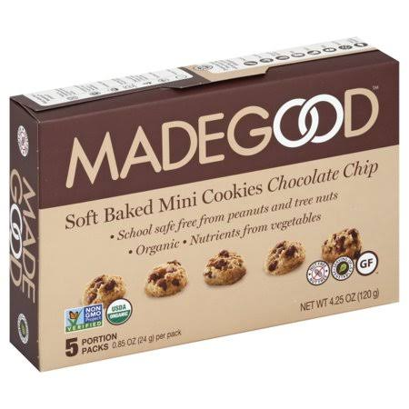 MadeGood Cookies, Soft-Baked, Chocolate Chip, Mini - 5 pack, 0.85 oz per pack