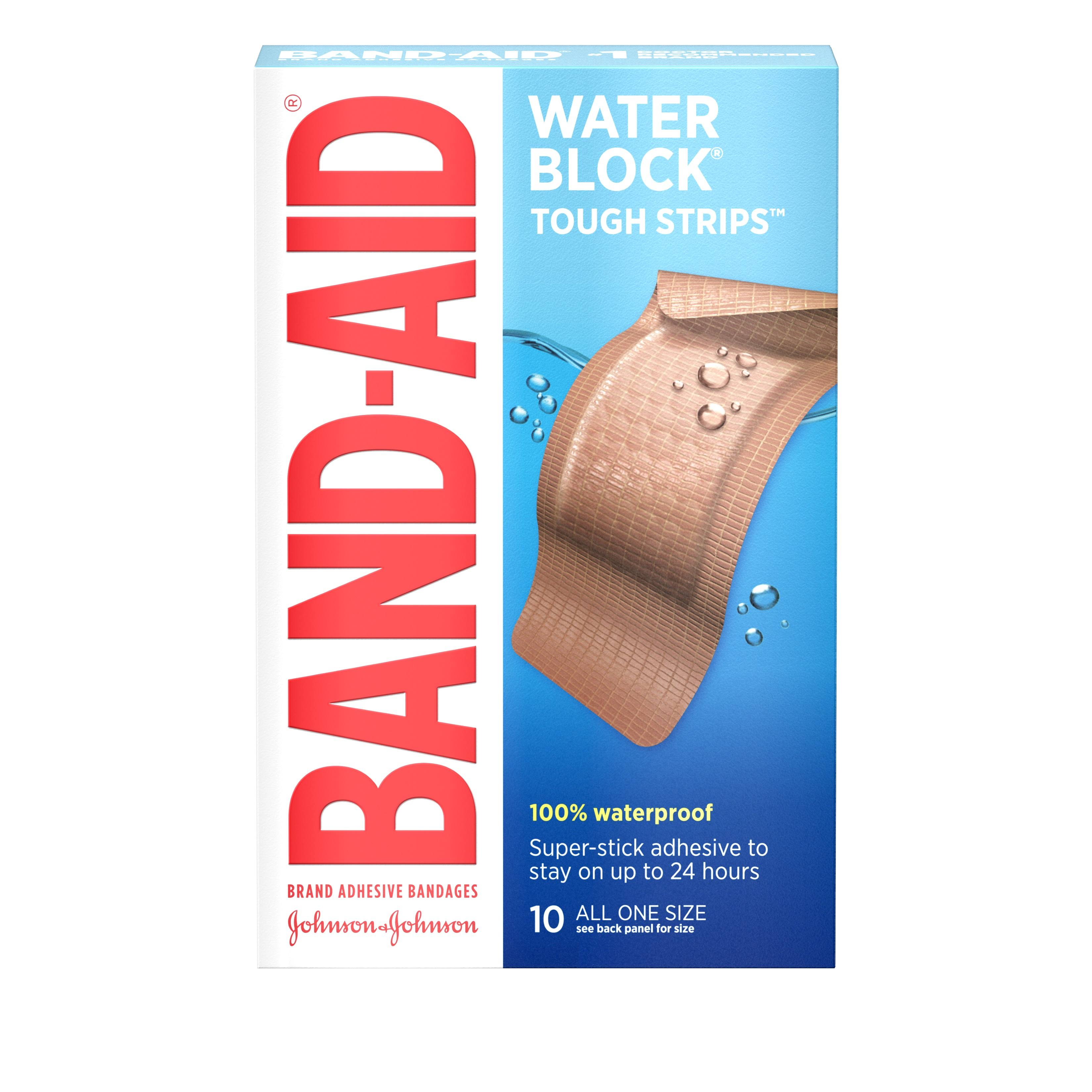Band-Aid Waterproof Tough-Strips - Extra Large, 10 Strips