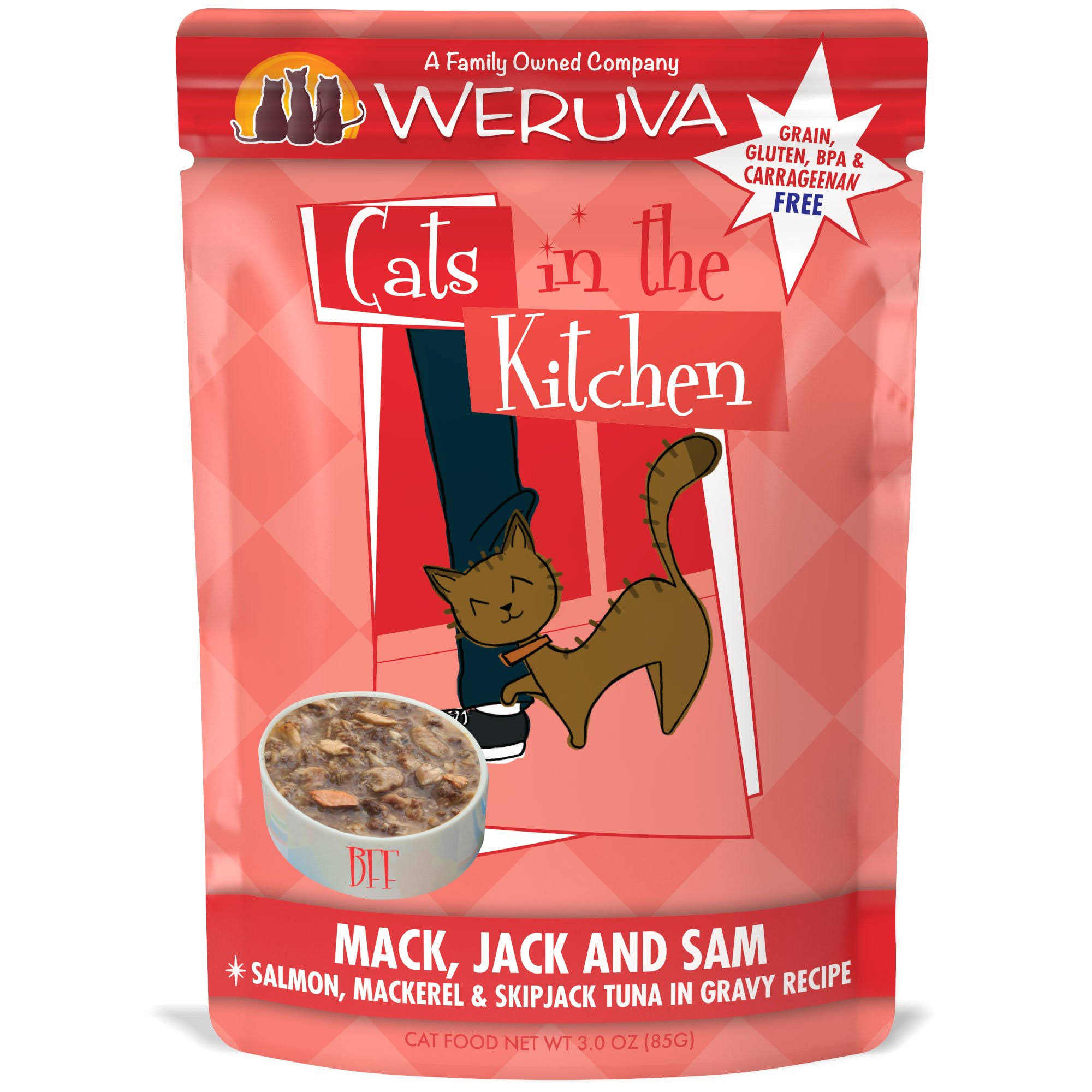 Weruva Cats in The Kitchen Mack Jack and Sam Cat Food - Salmon Mackerel and Skipjack Tuna in Gravy