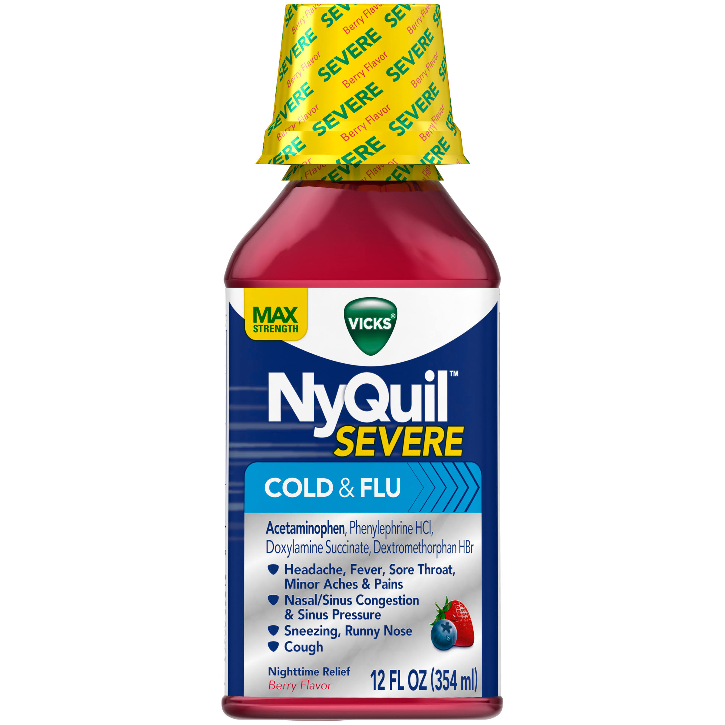 Vicks NyQuil Severe Cold and Flu Nighttime Relief Liquid - 12oz, Berry Flavor