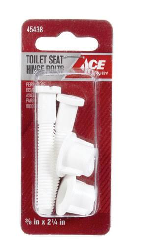 Ace Toilet Seat Hinge Bolts White Plastic