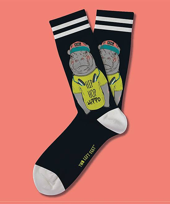 Two Left Feet Sock Co. Women's Sock Black 'Hip Hop Hippo' Socks S/M