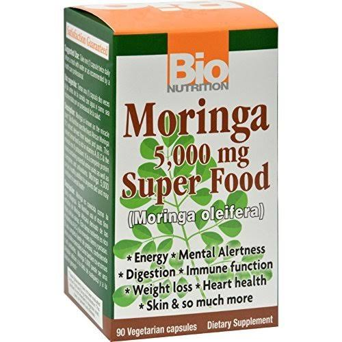 Bio Nutrition Moringa Super Food Supplement - 5000mg, 90 Vegetarian Capsules