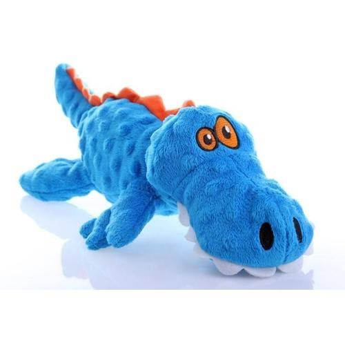 Quaker Pet Products Chew Guard Technology Tough Plush Dog Toy - Godog Gators, Blue, Large