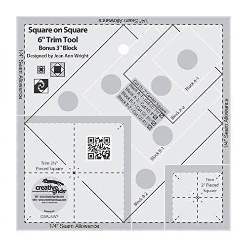 Creative Grids CGRJAW7 Square on Square Trim Tool Quilting Ruler Template - 6""