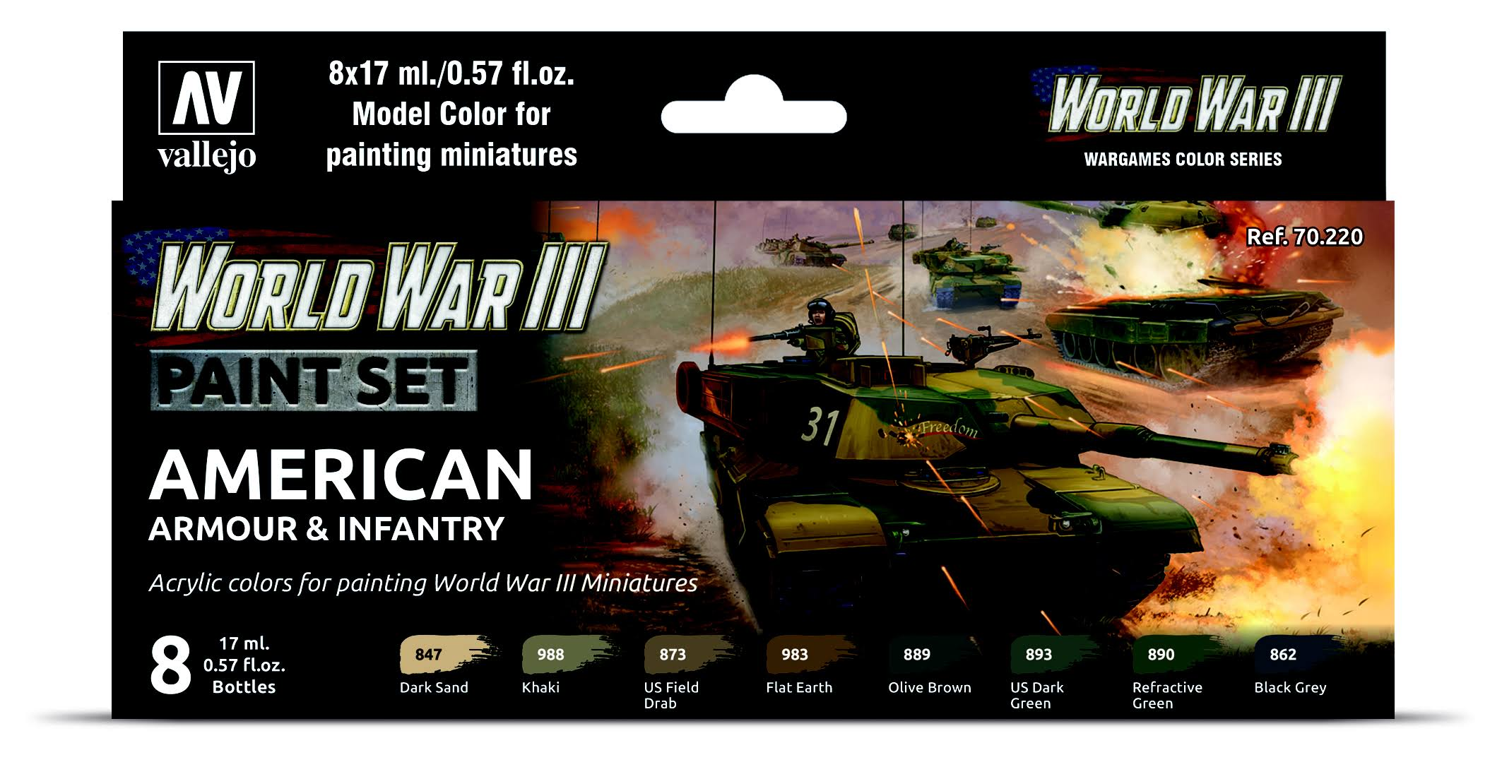 Vallejo - American Armour & Infantry WWIII Paint Set - VJ70220