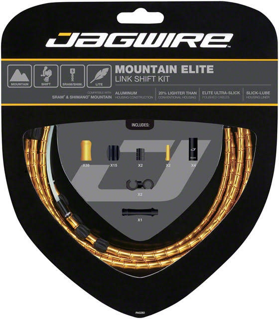 Jagwire Mountain Elite Link Shift Cable Kit - Gold, One Size