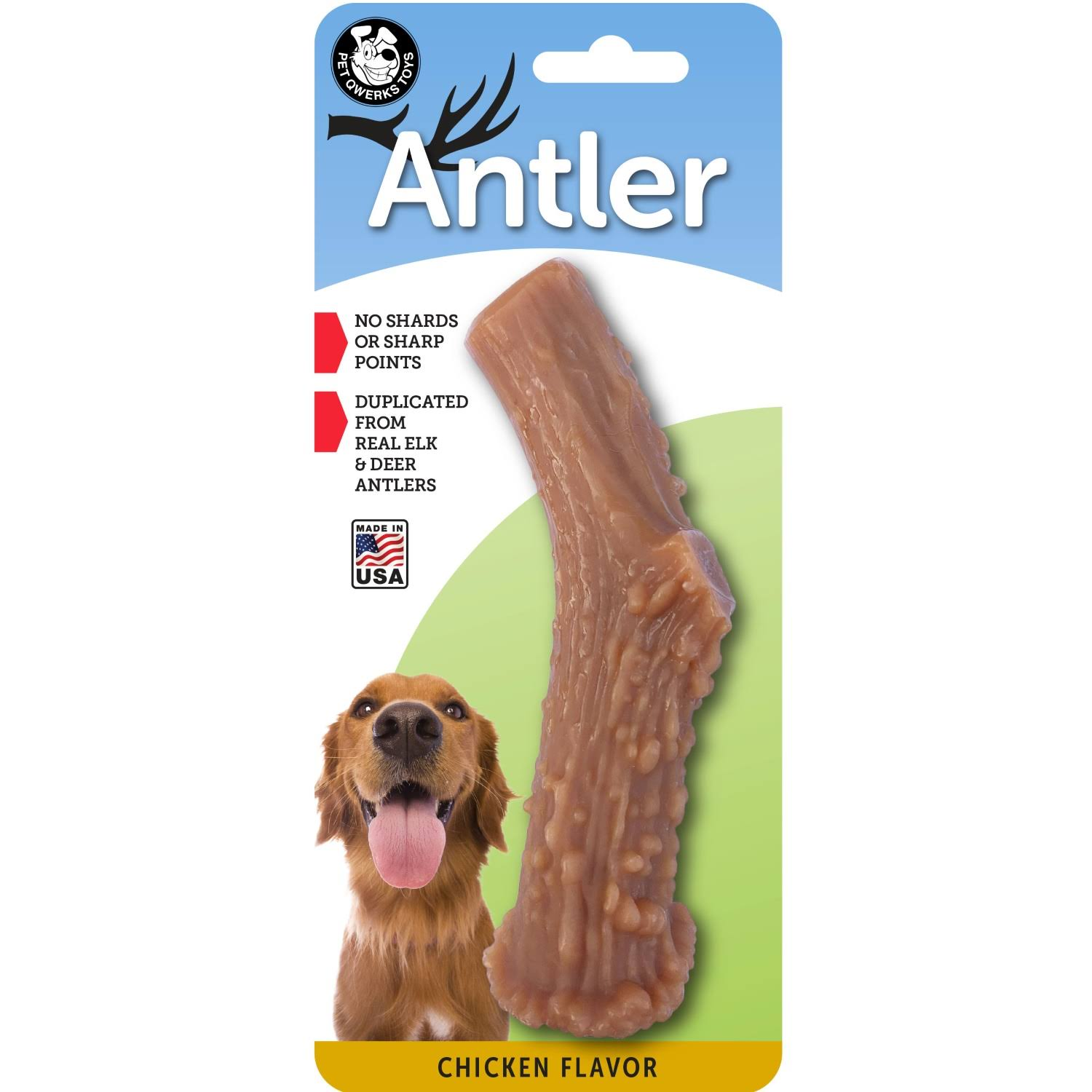 Pet Qwerks Infused Nylon Antler - Aggressive Chewers, Chicken, Large