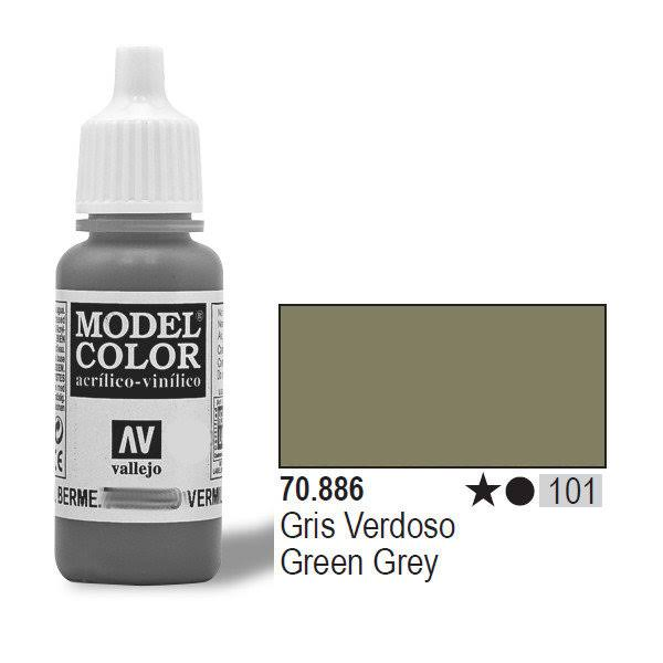 Vallejo Model Color Acrylic Paint - 886 Green Grey, 17ml
