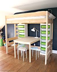 diy loft bed with desk and storage
